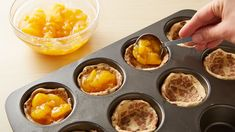 2-Ingredient Peach Pie Cups Recipe - Pillsbury.com Pillsbury Cinnamon Rolls, Cinnamon Roll Dough, Healthy Apple Desserts, Easy Desserts, Dessert Recipes, Peach Pie Filling, Fruit Pie, Dessert Cups, Garam Masala