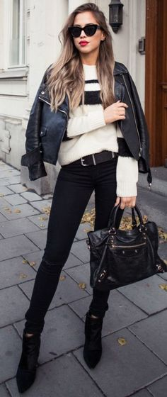 Black Stripe Sweater Fall Street Style Inspo by Kenzas