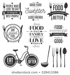 Find Set Vintage Food Related Typographic Quotes stock images in HD and millions of other royalty-free stock photos, illustrations and vectors in the Shutterstock collection. Thousands of new, high-quality pictures added every day. Foodtrucks Ideas, Vintage Recipes, Vintage Food, Anne Taintor, Printable Designs, Free Printable, Cafe Menu, Menu Design, Logo Design