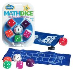Roll the 12-sided Target Die to get your target number, then roll the five 6-sided Scoring Dice. Using addition and/or subtraction, combine the Scoring Dice to match the target number, moving one space on the Scoring Track for every Scoring Die used. The first player to reach the finish line wins. #maths