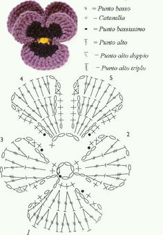 """Best Pic crochet Pansies Strategies Pansies are definitely the colourful roses with """"faces."""" A cool-weather beloved, pansies are ideal for t Crochet Diy, Diy Crochet Flowers, Beau Crochet, Crochet Puff Flower, Crochet Motifs, Knitted Flowers, Crochet Flower Patterns, Crochet Diagram, Crochet Chart"""