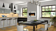 Regency Horizon HZ30E gas fireplace incorporated in a modern kitchen.