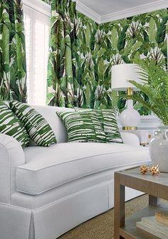 s decor#decor Paradise Wallpaper, Palm Wallpaper, Wallpaper Online, Cool Wallpaper, Motif Tropical, Tropical Design, Tropical Decor, Formal Living Rooms, Living Spaces