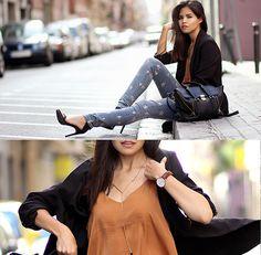 3.1 Phillip Lim Pashli, Levi's® Star Print Skinny Jeans, Daniel Wellington Watch, Sheinside Long Blazer