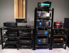 This is my single room 2 channel listening room/Home Theater system View of all of the Audio Components in the system. 2 Isolation Transformers are behind. Isolation Transformer, Home Music Rooms, Home Theater Design, High End Audio, Hifi Audio, Sounds Great, Audio Equipment, Audiophile, Retro