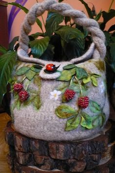 Felted Bag 3D Berries embellishment, works of art...amazing!