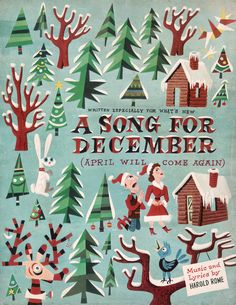 Jim Flora's sheet music artwork for Harold Rome's A Song For December, 1952  via Evan Finch