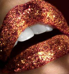 Copper Glitter Lips.