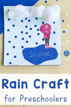 This preschool rain craft is fun to make - kids get to use a hole punch! (No, they don't have to glue on the raindrops) Add a photo to make an adorable spring bulletin board display. Weather Activities For Kids, Teaching Weather, Seasons Activities, Outdoor Activities For Kids, Spring Activities, Preschool Weather, Rainy Day Fun, Rainy Day Crafts, Rain Crafts