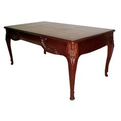 Fabulous French mahogany writing table with gold tooled leather top. This table has nice carvings on the legs and is large enough to be used as a desk. Table Maker, Writing Table, Dining Table, Art Deco Table, Furniture, Table, Marble Table Top, Coffee Table, Home Decor