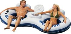 Float down the river or pool in comfort. Two tubes in one - for you and your sweetheart. (Or kiddos!)