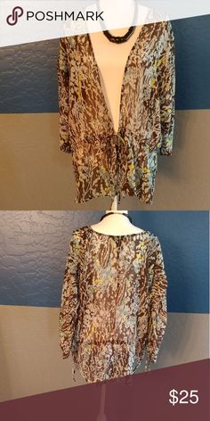 "NWOT Lane Bryant Tunic Top Plus Size 22/24 Beautiful Sheer Brown Multicolor Short Sleeve, 48"" Bust, Polyester, Bundle and Save, Make An Offer Lane Bryant Tops"
