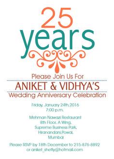 25th Wedding Anniversary Invitation With Orange Patterns