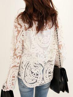 beloved lace top in vine & floral
