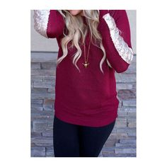 Round Neck Sequin Decorated Long Sleeve Knitwear ($17) ❤ liked on Polyvore featuring tops, sweaters, red, red pullover sweater, long sleeve sweaters, long sleeve tops, purple sweater and sequin top