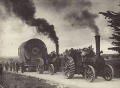 Photograph [Mataura Paper Mill equipment being moved from Gore to Mataura by traction engines]; Clayton, C. Gaynor (Mr) (Gore); 1936; MT2011.185.53