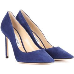Jimmy Choo Romy 100 Suede Pumps (975 AUD) ❤ liked on Polyvore featuring shoes, pumps, heels, blue, heel pump, suede pumps, blue heel pumps, jimmy choo and blue heeled shoes