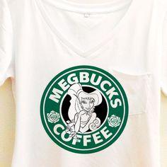 Megbucks Coffee Shirt   Hercules and Meg Couple Starbucks   Disney