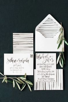 Black and white watercolor wedding invitations with hand lettering