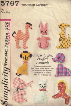 Can't believe someone posted this. First pattern I ever used as a kid when I first started machine sewing in Home Ec class. Memories from a thousand million years ago. Vintage 1960s Simplicity 5767 Stuffed Animal