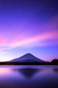 Japan - Honshu Island - Mount Fuji and Lake Shojiko #travel #dusk #asia
