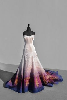 Bridal Gowns Colored by Taylor Ann Art - Gallery Ombre Wedding Dress, Colored Wedding Dresses, Boho Wedding, Dream Wedding, Fantasy Gowns, Beautiful Gowns, The Dress, Dream Dress, Pretty Dresses