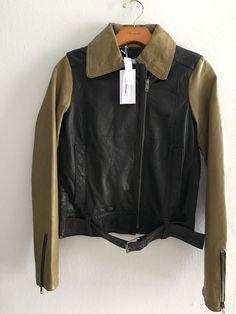 e168feb2ee7b NWT  895 DEREK LAM 10 Crosby Baker Black Green Leather Jacket Size 2