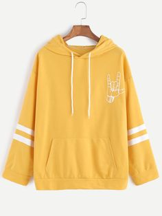 8c76ada34 Yellow Love Gesture Print Drawstring Hooded Sweatshirt — € color  Yellow  size  one-size