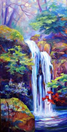 Waterfall 1 by Peggy Wilson is part of Waterfall paintings Waterfall 1 is a painting by Peggy Wilson which was uploaded on November 2009 The painting may be purchased as wall art, home decor, - Landscape Art, Landscape Paintings, Landscapes, Fall Drawings, Waterfall Paintings, Art Village, Autumn Art, Autumn Painting, Mountain Paintings