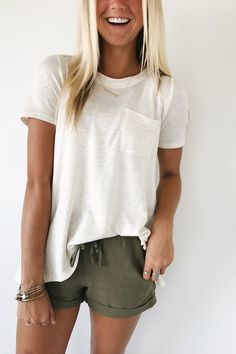 Pocket Tee in Oatmeal. I love the green shorts paired with the off-white top here! Nice contrast.