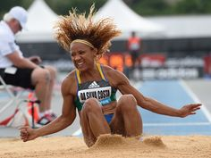 Keila Da Silva Costa of Brazil makes her long jump during the Adidas Grand Prix track and field meet in New York.  Don Emmert, AFP/Getty Images