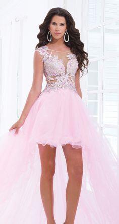 Pink high low prom dress