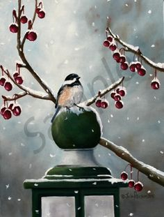 Chickadee & Snow Flakes - Julie Peterson Oil Paintings (East Wenatchee, WA)