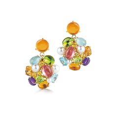 A pair of Bubble Drop Earrings with Multi-Color Precious, Semi-Precious Stone, and Pearl set in 18K Yellow Gold. Signed Seaman Schepps.