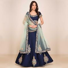 Buy Charming Navy Blue Designer Embroidered Taffeta Silk Lehenga Choli at Rs. 2849- Get Lehenga for womens at Ethnic Factory. Genuine Products, Easy Returns, Best Pricing