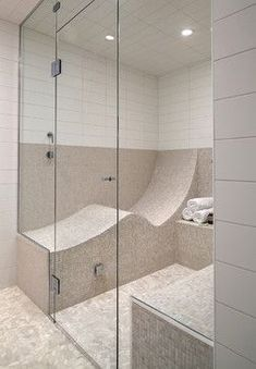 An S-shaped seat turns your shower or steam room into one you can LIE DOWN IN. An S-shaped seat turns your shower or steam room into one… Dream Bathrooms, Beautiful Bathrooms, Master Bathrooms, Bathroom Inspiration, My Dream Home, Home Projects, Home Goods, House Plans, Sweet Home