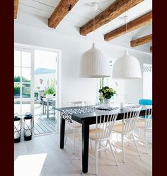 wood beamed ceilings and whire wood - Google Search