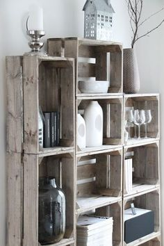 Crates for shelves #PlankWood [ PlankWood.com ]