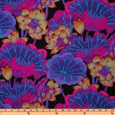 Kaffe Fassett Lake Blossoms Black from @fabricdotcom  Designed by Kaffe Fassett for Westminster Fabrics