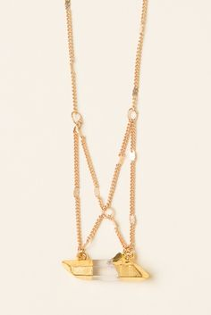 Brandy ♥ Melville | Cross Chain Stone Quartz Necklace - Accessories