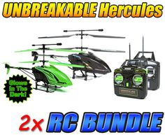 Hercules X and Glow in the Dark Hercules Unbreakable 3.5CH RC Helicopter Bundle