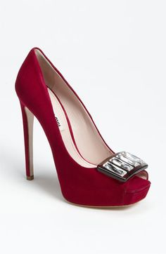 Miu Miu Jeweled Open Toe Pump available at #Nordstrom