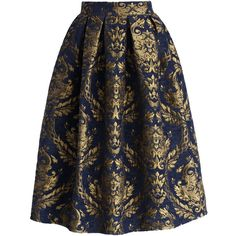 Chicwish Glorious Baroque Midi Skirt featuring polyvore, women's fashion, clothing, skirts, bottoms, faldas, saias, blue, blue skirt, mid calf skirts, baroque skirt, midi skirt and chicwish skirt