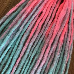 """Excited to share the latest addition to my #etsy shop: Crochet Ombre DE Synthetic Double Ended Dreadlocks. Dreadlocks Extensions. Pink and Blue 'Candy"""" DE dreads http://etsy.me/2C3Fk2I #accessories #hair #blue #pink #crochet #dreadlockextensions #crochetdreadlocks #dre"""