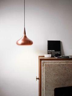Hanging light in copper / Interior * Minimalism by LEUCHTEND GRAU http://www.leuchtend-grau.de/2013/04/retro.html