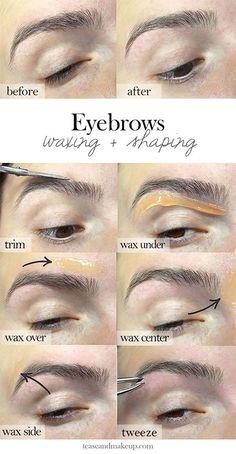 Eyebrow Waxing Shaping Do it yourself at home Eyebrow Tutorial Waxing GiGi Wax Kit DIY Brows Wax Eyebrows At Home, How To Draw Eyebrows, Waxing Eyebrows, Diy Eyebrow Waxing, Bleached Eyebrows, Arched Eyebrows, Bleached Hair, Eyebrow Stencil, Permanent Eyebrows