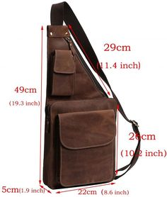 a4f9f3432eda Amazon.com  Mens Genuine Leather Buniess Crossbody Chest Pack Sling  Backpack Shoulder Bag  Clothing