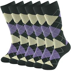 SUTTOS Mens Womens Unisex Adult Crazy Wonder Funky Colorful Purple Black Argyle Nordic Striped Art Patterned Casual Hiking Golf Crew Dress Sock,6 Pairs ** More info could be found at the image url.