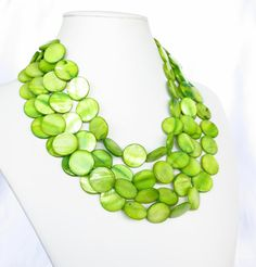 Lime Green Graduated Mother of Pearl Bridesmaid Jewelry by WildflowersAndGrace, $49.00