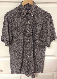 Ralph Lauren Mens 15-32 Button Front Short Sleeve Shirt Purple Black White EUC #RalphLauren